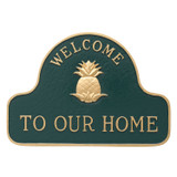 Welcome Address Plaque in a  wonderful Hunter Green/Gold color combination for a fresh, decorative vibe.