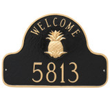 Welcome Address Plaque shown here in classic gold on black color combination that attractive and easy to see from a distance.