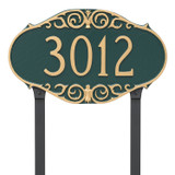 Victorian Style House Numbers Plaque shown with lawn stakes