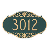 Victorian Style House Numbers Plaque shown here in decorative hunter green/gold color combination. Numbers and border are raised solid aluminum... giving your house plaque texture and adding an artistic look and feel to your entryway or outdoor space.