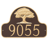 Stylish Oak Tree House Number Plaque shown in an attractive Chocolate/Gold color combination