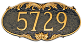 Metal House Number Plaque with decorative border. Shown here in attractive chocolate brown background with gold color combination. Border and numbers are raised for a distinctive look and long-lasting durability.