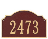 Address Plaque with house numbers and shown here in brick red/gold color combination.