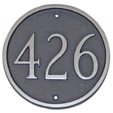 Round House Number Plaque - shown in Grey/Silver