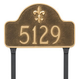 Fleur de lis Address Number Plaque can be ordered with lawn stakes. Lawn stakes are made of rust free aluminum with a durable black finish to compliment your plaque.