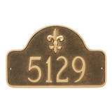 Shown with numbers only on the Fleur de lis Address Number Plaque - One Line