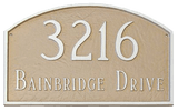 Arch Address Plaque. Color shown is Taupe with White- Prestige Arch Address Plaque