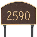 Arch Address Plaque  shown in attractive Chocolate/Gold color combination with lawn stakes added.