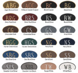 Choose one of these beautiful color combinations to complete your custom arch address plaque.
