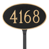 Oval House Number Plaque shown with lawn stake. Two lawn stakes available if desired. Just let us know when you're placing your order in the 'comments' box section.