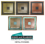 Create a pleasing focal point for your front porch or entry way with one of these gorgeous metal finishes for your house plaque.