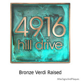 Modern Address Plaque shown here in a Bronze Verdi metal coated finish with raised numbers and lettering.