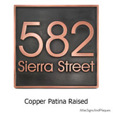 Modern Address Plaque in a Copper Patina finish with distinctive raised numbers and lettering.