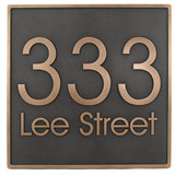 Modern Address Plaque shown here in a gorgeous Bronze Patina with raised numbers and lettering.
