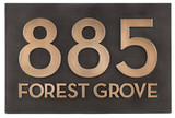 Modern Street Address Plaque-Bronze Patina Raised
