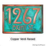 Stickley Address Plaque shown in 'copper-verdi' metal coated finish.