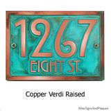 Stickley Address Plaque shown in 'copper-verdi' metal coated finish.