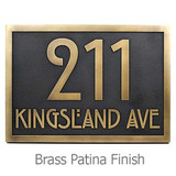 Stickley Address Plaque shown in Brass Patina metal coated finish.