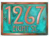 Stickley Address Plaque shown in beatiful 'Copper Verdi' metal coated custom finish