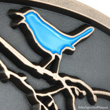Songbird Address Plaque with optional Blue Bird. See the 'Optional Paint My Bird' drop down box when ordering.