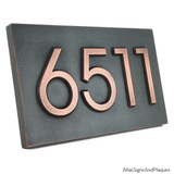 Modern Advantage House Number Plaque. 'Copper patina' metal coating finish.