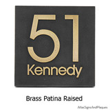 Modern House Number Plaque in 'brass patina' finish... also with raised numbers and lettering for a perfect balance of texture, warmth and color. This size holds 1-2 numbers.