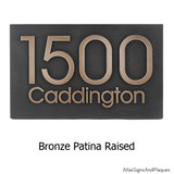 Modern House Number Plaque in 'bronze patina' finish with raised numbers and lettering! Very attractive.