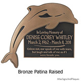 Dolphin Plaque shown here with message. Message can be: In Memory of; award plaque; congratulations; directional; instructional; Private Drive; family name, etc.