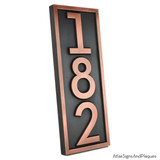 Vertical House Numbers Plaque - Copper Patina