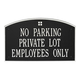 Extra Large Arch Plaque shown with 3 lines of text. Great for commercial applications. Shown in Black/Silver color combination.