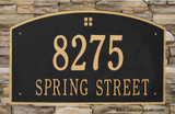 "Extra Large Arch Plaque shown with two lines which allows for larger house numbers 7"" high and larger 2nd line lettering that is 3"" high in this example. Shown in Black/Gold color"