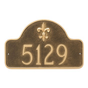 Shown in Aged Bronze/Gold the Fleur-de-lis Address Plaque - European Style