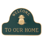 Pineapple Welcome Address Plaque in Hunter Green/Gold