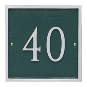Large Address House Number Plaque.  Color combination is Hunter Green/Silver