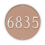 Round House Number Plaque (Estate Size) shown in Taupe background with white numbers and border.