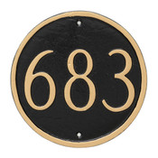 Circle House Number Plaque in Black/Gold color