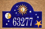 Sun Moon House Number Plaque