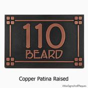 Frank Lloyd Craftsman Address Plaque shown in Copper Patina Finish
