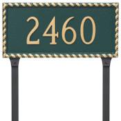 Franklin Address Plaque - Metal shown in Hunter Green Gold