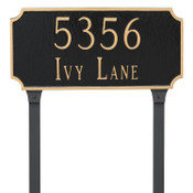 Princeton Address Plaque in Black/Gold with lawn stakes