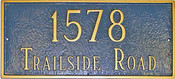 Classic Rectangle Address Plaque shown in attractive Sea Blue and Gold color combination.
