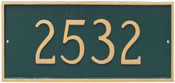 Classic Rectangle Address Plaque shown here in Hunter Green and Gold color combination.