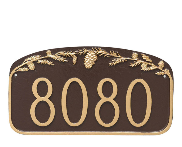 House Number Plaque Pine Cone shown in Chocolate Gold combo