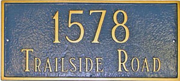 Classic Rectangle Address Plaque (Estate Size) Shown in Sea Blue/Gold colors.