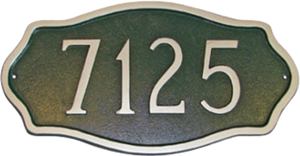 Stylish Estate Size Metal Address Plaque with Raised Numbers and Border.