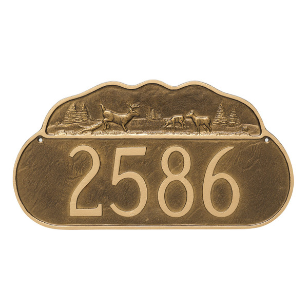 Deer Address Plaque in available is custom hand rubbed finishes. Shown here in Aged Bronze with Gold.