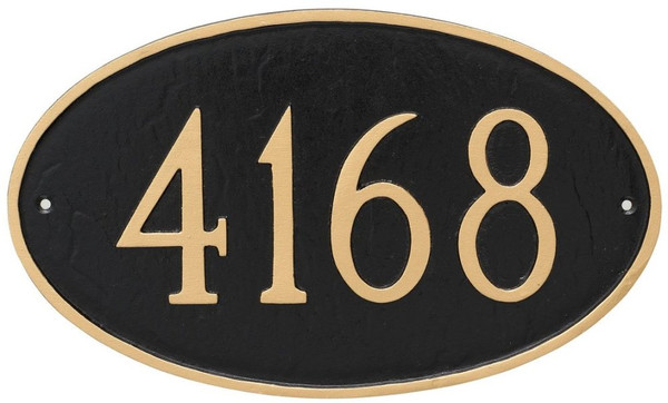 Large Oval Address Plaque with House Numbers - Shown here with black background and gold numbers and border. Numbers and border are raised.