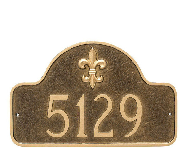 Fleur-de-lis Address Sign shown here in attractive Aged Bronze/Gold color combination.