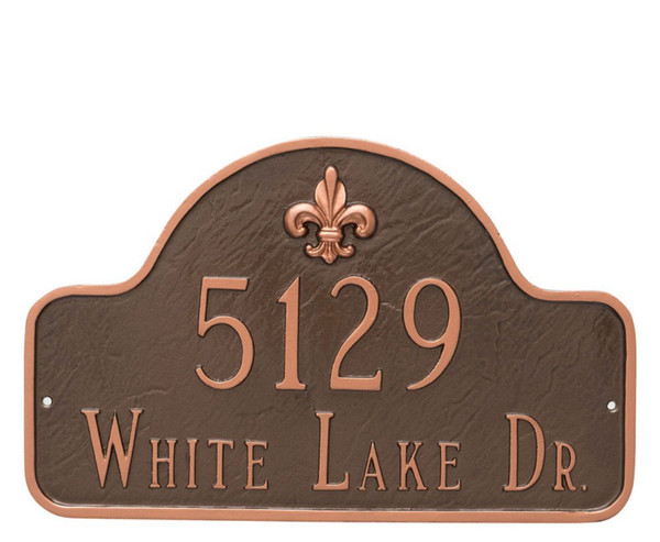 Fleur-de-lis Lexington Arch Address Plaque - 2 lines (Large)