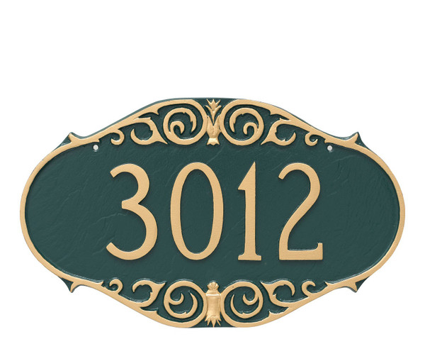 Shown in Hunter Green Gold the Victorian Style House Numbers Plaque